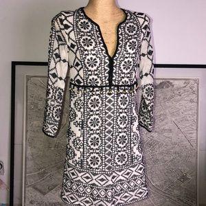 New Antik Batik Short Dress in Ivory Embroidered